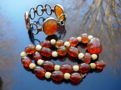 Antique Vintage Chinese Carnelian Agate Bracelet & Glass Beads Necklace