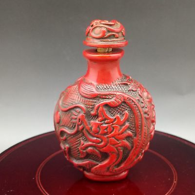 Exquisite Chinese Red Coral Hand Carved Dragon & Phoenix pattern Snuff Bottle