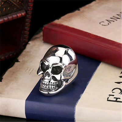 Cute Silver MENS Huge Heavy Skull 316L Stainless Steel Biker Ring US Size 7-14