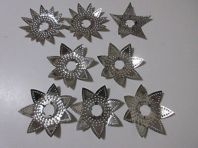 Lot of 8 Vtg Christmas Tree Light Reflectors Punched Metal Tin Stars Atomic