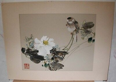 1950s? JAPANESE Orig WATER COLOR PAINTING~Sparrow? Bird & White Flower~Signed