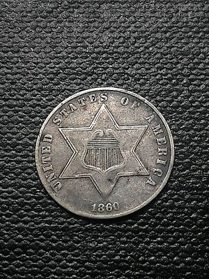 1860 US Silver 3 Cent Piece