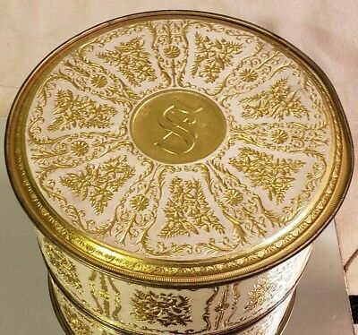 Vintage Guildcraft Embossed White and Gold Fruitcake Biscuit Tin