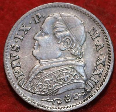 1869 Italy Papal States 10 Soldi Silver Foreign Coin