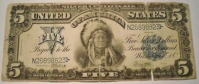 1899 $5 Silver Certificate, Middle Grade Details Chief, Better Note, Five Dollar