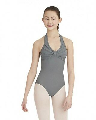 $41 NWT NEW Capezio Elegant Halter Leotard in Smoke Gray- Adult Medium