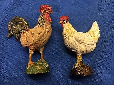 Vintage Composition Rooster Chicken Hen Lot Farm Animals Elastolin Putz