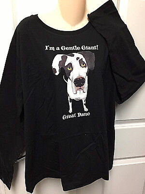 Long sleeve black t-shirt 2XL I'm a Gentle Giant Great Dane Dog Live and Tell