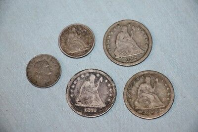 Lot of 3 Liberty Seated Quarter 1853 1876 1877 Liberty Dime 1875 Swiss 5 Coin