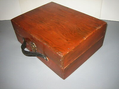 Vintage Folkart Wooden Box or Case - Great Cond For Age ca 50's - Brass Hardware