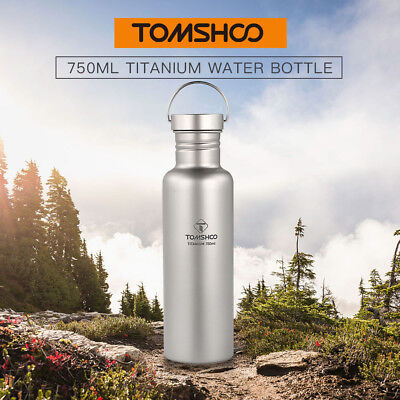 TOMSHOO 750ml Full Titanium Water Bottle with Extra Plastic Lid Ultralight M0A2