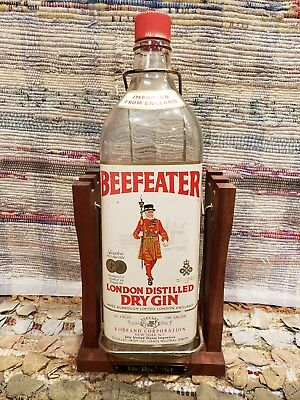 "BEEFEATER GIN 1 Gallon ""The Beefeater"" Bottle on Wire tilt & Wood Swing Stand"