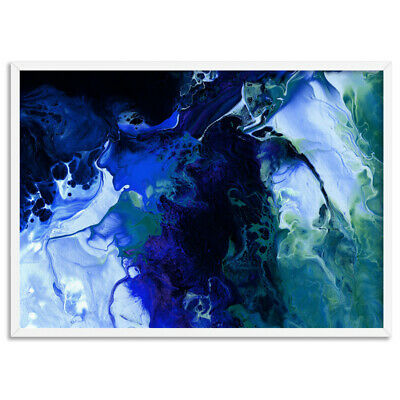Abstract Blue Painting. Fluid Art. Paper or Canvas. Modern Living room | ABA-04