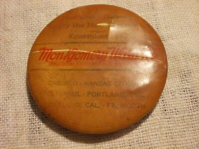 Vintage Adv Montgomery Ward & Co Round Celluloid Knife Sharpening Stone