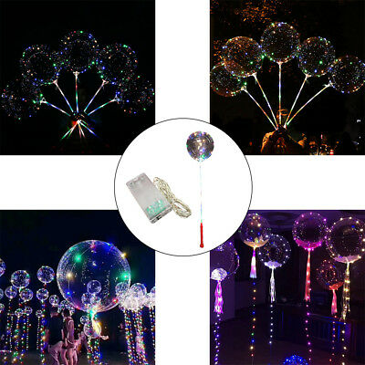 LED Lights Clear Bubble Helium Balloons Wedding Birthday Party Decoration Top
