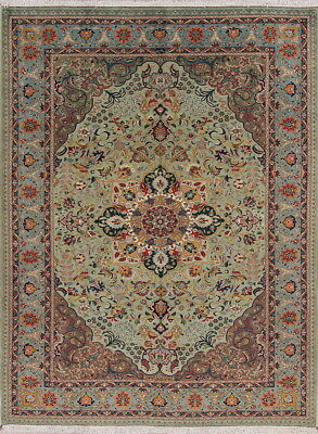 New 225 Knots Masterpiece Floral Green Taabriz Persian Oriental Area Rug 7'x9'