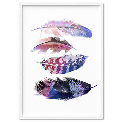 FEATHERS FALLING - Pink / Purple / Blue - Wall Art Poster Print Canvas