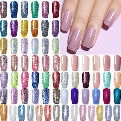 LEMOOC 8ml Nail Art Vernis à Ongle Glitter Semi-permanent Soak off UV Gel Polish