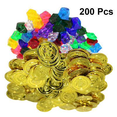 200Pcs In All Plastic Gold Coins Pirate Treasure Chest Play Toy Set Party Favors