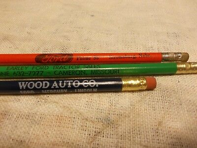Vintage Lot Of 3 Adv Ford Tractor Car Sales And Service Unused Wood Pencils