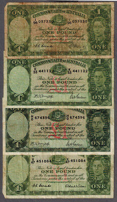 Group of Commonwealth of Australia KGVI 1949-52 One Pound Banknotes