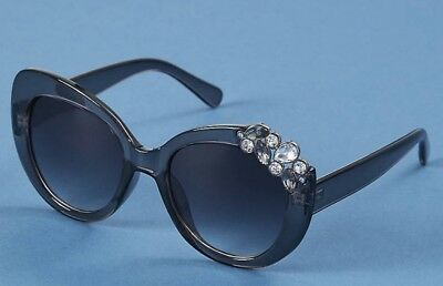 b65f970e17d7 Lane Bryant Butterfly Bling Stone Cat Eye Sunglasses With Microfiber Case  grey