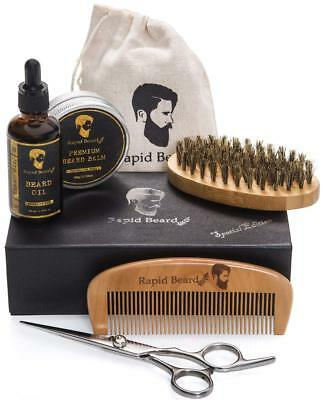 Beard Grooming  Trimming Kit for Men Care - Beard Brush, Beard Comb, Unscented