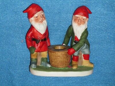 Vintage NEW Bisque Gnome Candle Holder figurine Xmas