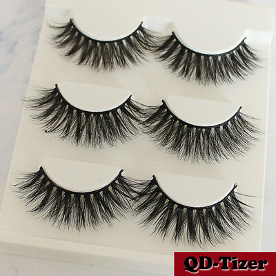 3 Pairs Natural Fashion Handmade Real Mink 3D False Eyelashes Thick Long Lashes