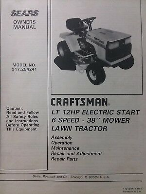 Sears Craftsman LT 12 Lawn Tractor & 38 Mower Owner & Parts Manual 917.254241