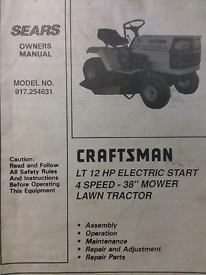 Sears Craftsman LT 12 Lawn Tractor & 38 Mower Owner & Parts Manual 917.254631