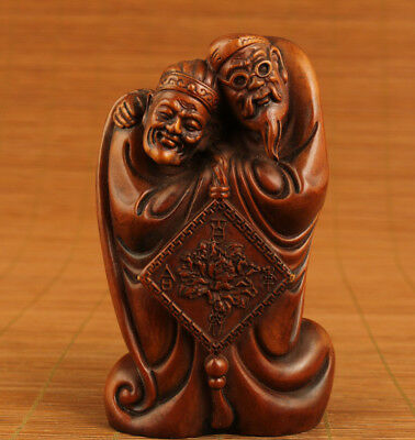 Rare Chinese Old Boxwood WOOD Darby and Joan love Statue collectable home deco
