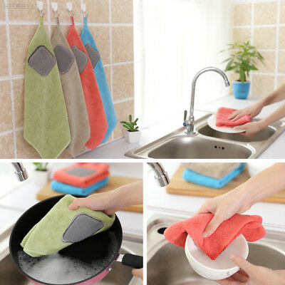 7A03 Hanging High Absorbent Anti Microfiber Fiber Kitchen Wiping Rags Dish Towel