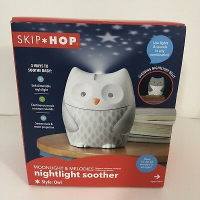 Skip Hop Moonlight & Melodies Crib Soother and Baby Night Light, Owl - NEW