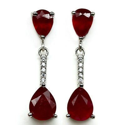 REAL! 6 X 8 mm. RED RUBY WHITE CZ 925 STERLING SILVER EARRINGS