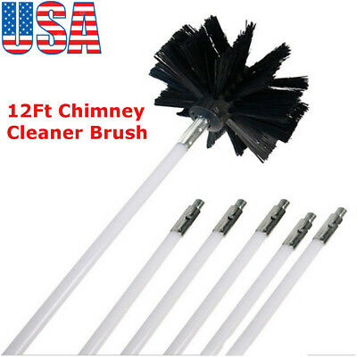 12Ft Chimney Cleaner Brush Cleaning Rotary Sweep System Fireplace Kit Rod USA