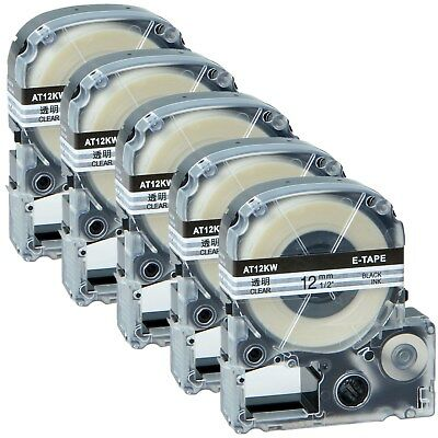 """5PK Black on Clear Label Tape Compatible w Epson ST12KW LW-300 400 500 700 1/2"""""""