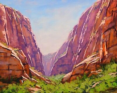 Zion Canyon desert landscape original oil painting, utah canyon painting