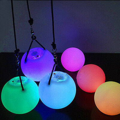 LED Multi-Coloured Glow POI Thrown Balls Light up For Belly Dance Hand Prop Nove