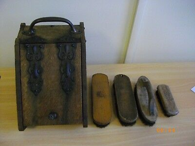 Early 20Th Century Oak Slope Antique Bootblack's Box Shoe-Shine Box With Brushes
