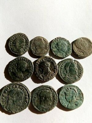 084.Lot of 10 Ancient Roman Bronze Coins,Fine