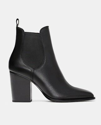 f883bc8528a Zara Woman Block High Heel Stretch Leather Ankle Boots Shoes Black 5135 301  New