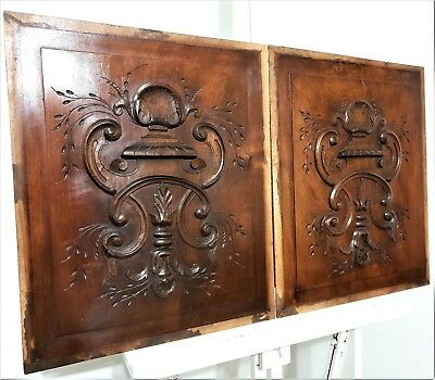 2 GOTHIC SCROLL LEAVES PLAQUE PANEL Antique french carved wood salvaged carving