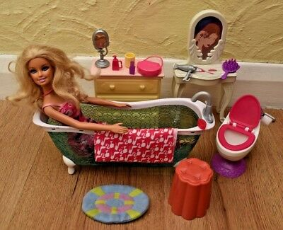 Barbie Bathroom Play Set + Bath Toilet & Accessories