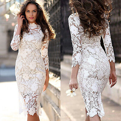 Womens Midi Evening Bodycon Party Dress Lace Wedding Bridesmaid Dresses Fashion