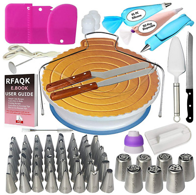 Cake Decorating Supplies Kits Icing Tips Nozzles Bags Turntable Scrapers Molds