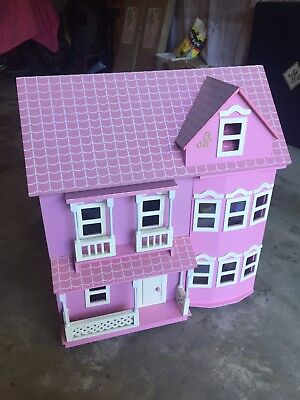 Victorian Pink Wooden Dolls Doll House with 40+ Furniture & 10 Dolls