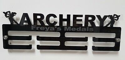 Archery female medal hanger/holder personalised 5mm acrylic with standoffs