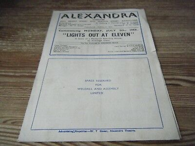 1943   Theatre  Programme -   Lights Out At  11  -  Birmingham   Alex  Theatre