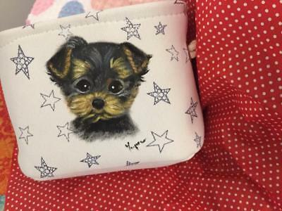 Yorkie Puppy Hand Painted Basket &towel